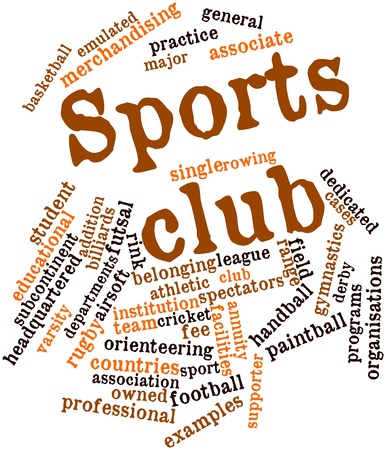 originate: Abstract word cloud for Sports club with related tags and terms Stock Photo