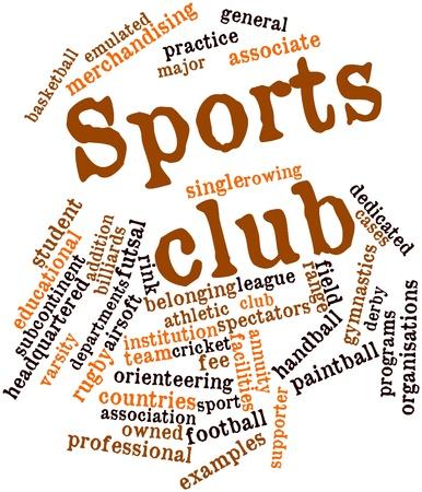 Abstracte woord wolk voor Sportclub met gerelateerde tags en termen Stockfoto