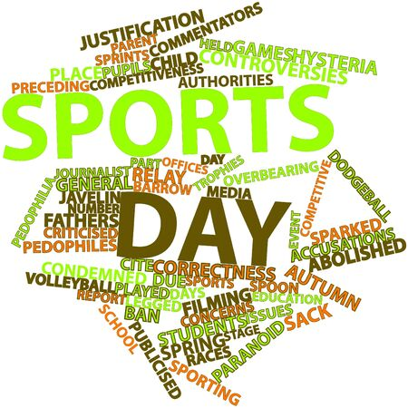 commentators: Abstract word cloud for Sports day with related tags and terms Stock Photo