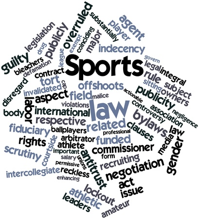 defamation: Abstract word cloud for Sports law with related tags and terms