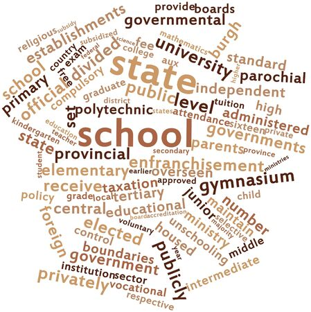 burgh: Abstract word cloud for State school with related tags and terms