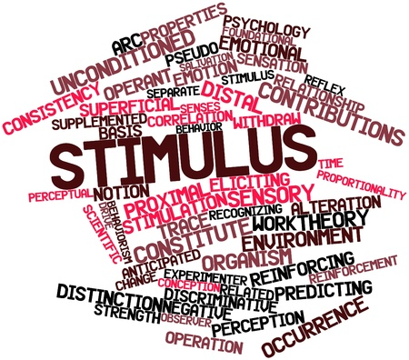 distal: Abstract word cloud for Stimulus with related tags and terms Stock Photo