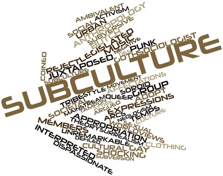 subversive: Abstract word cloud for Subculture with related tags and terms