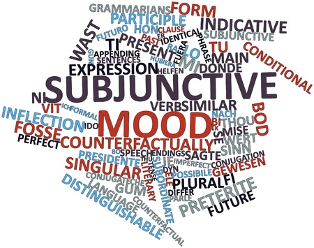 bod: Abstract word cloud for Subjunctive mood with related tags and terms Stock Photo