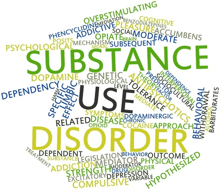 hostility: Abstract word cloud for Substance use disorder with related tags and terms