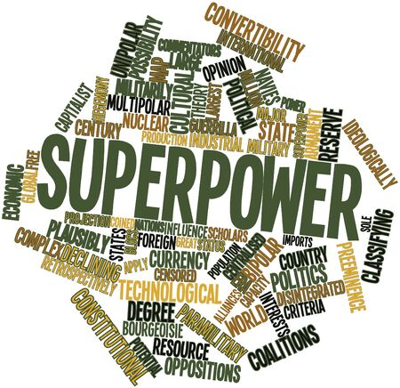 centralised: Abstract word cloud for Superpower with related tags and terms Stock Photo