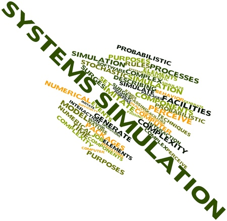 simulation: Abstract word cloud for Systems simulation with related tags and terms Stock Photo