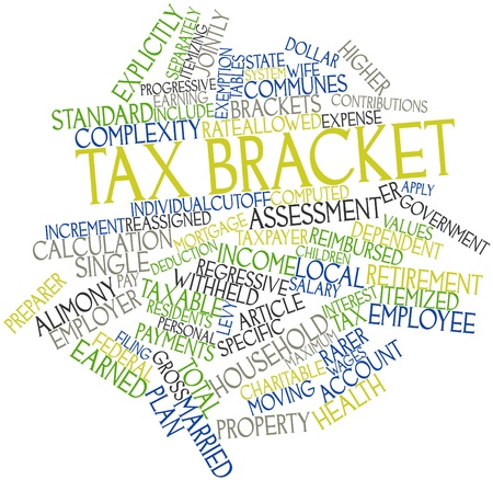 adjusted: Abstract word cloud for Tax bracket with related tags and terms Stock Photo