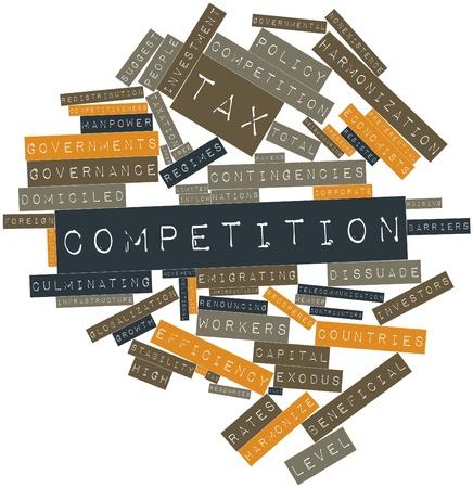 competitividad: Nube palabra abstracta para la competencia fiscal con las etiquetas y términos relacionados