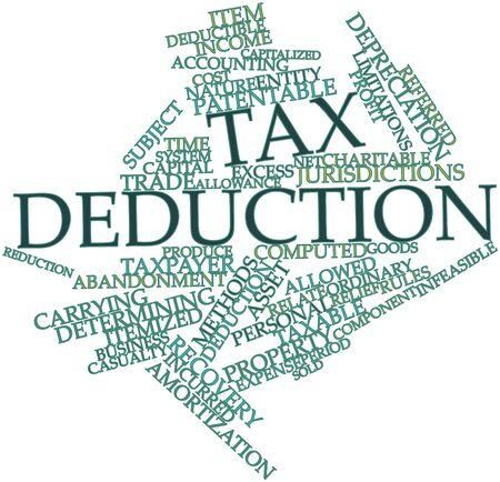 determining: Nube palabra abstracta para la deducci�n fiscal con las etiquetas y t�rminos relacionados Foto de archivo