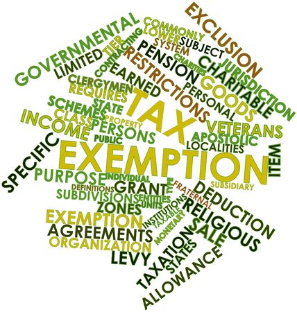 taxation: Abstract word cloud for Tax exemption with related tags and terms