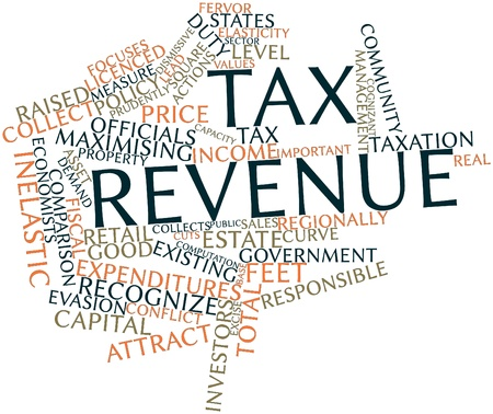 Abstract word cloud for Tax revenue with related tags and terms Stock Photo - 16719966