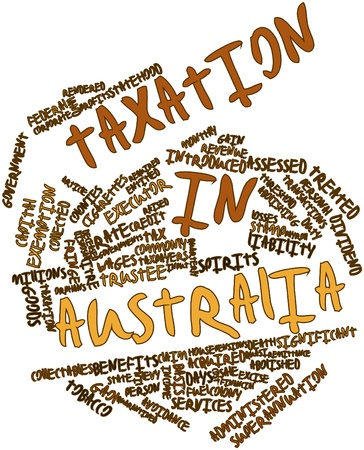 taxation: Abstract word cloud for Taxation in Australia with related tags and terms