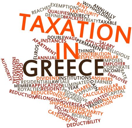 taxation: Abstract word cloud for Taxation in Greece with related tags and terms Stock Photo
