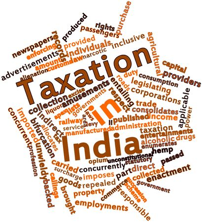 enforcing: Abstract word cloud for Taxation in India with related tags and terms