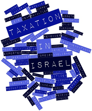 custom cabinet: Abstract word cloud for Taxation in Israel with related tags and terms Stock Photo