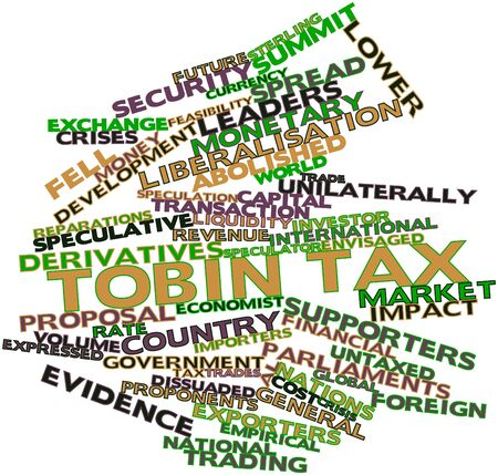 proponents: Abstract word cloud for Tobin tax with related tags and terms Stock Photo