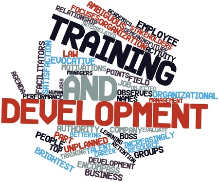 increasingly: Abstract word cloud for Training and development with related tags and terms Stock Photo