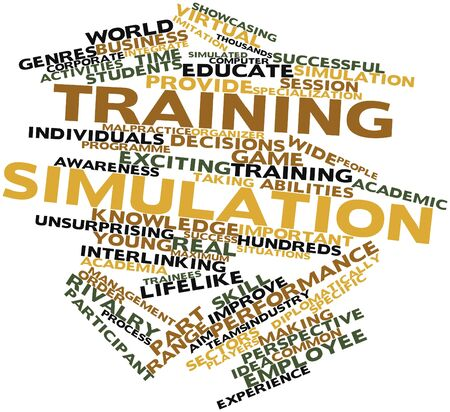 commercially: Abstract word cloud for Training simulation with related tags and terms