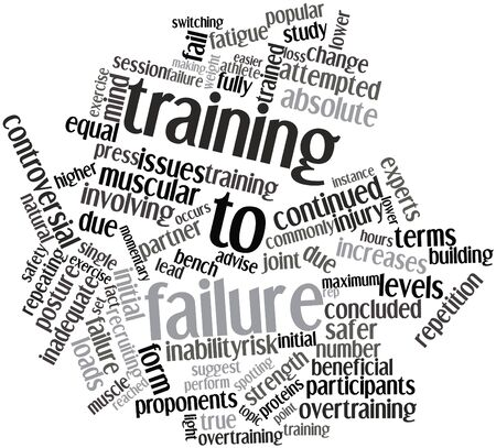 proponents: Abstract word cloud for Training to failure with related tags and terms Stock Photo
