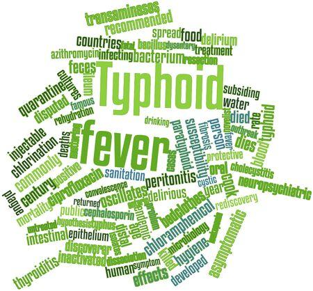 descubridor: Nube palabra abstracta para la fiebre tifoidea con etiquetas y términos relacionados