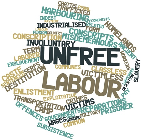 promulgated: Abstract word cloud for Unfree labour with related tags and terms