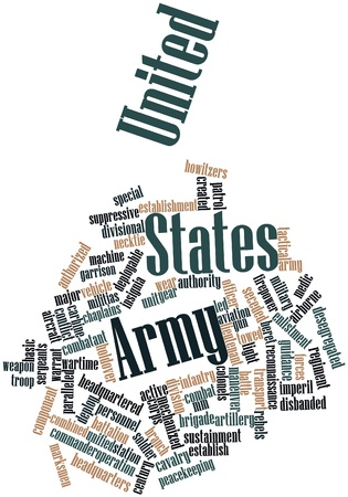 major force: Abstract word cloud for United States Army with related tags and terms