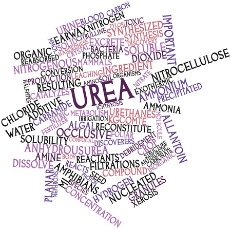 excrete: Abstract word cloud for Urea with related tags and terms Stock Photo