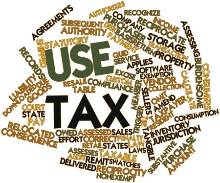 use: Abstract word cloud for Use tax with related tags and terms Stock Photo