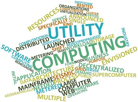 word processors: Abstract word cloud for Utility computing with related tags and terms