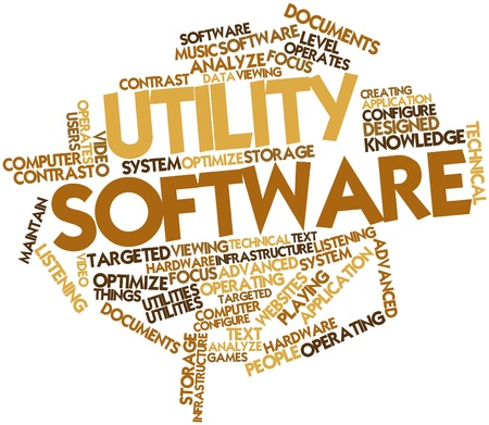 Abstract word cloud for Utility software with related tags and terms Stock Photo - 16719841