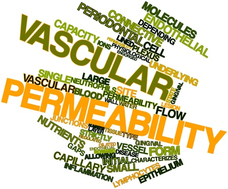 Abstract word cloud for Vascular permeability with related tags and terms