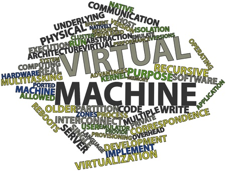bindings: Abstract word cloud for Virtual machine with related tags and terms Stock Photo