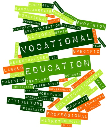 recognised: Abstract word cloud for Vocational education with related tags and terms