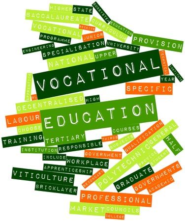 councils: Word cloud astratto per l'istruzione professionale con tag correlati e termini