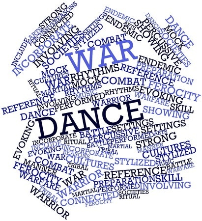 evoking: Abstract word cloud for War dance with related tags and terms