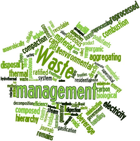 Abstract word cloud for Waste management with related tags and terms photo