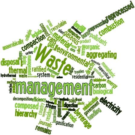 tratados: Nube palabra abstracta para la gesti�n de residuos con las etiquetas y t�rminos relacionados Foto de archivo