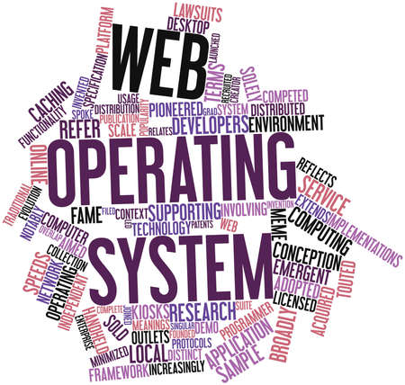 implementations: Abstract word cloud for Web operating system with related tags and terms