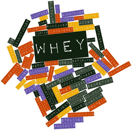 salty: Abstract word cloud for Whey with related tags and terms Stock Photo