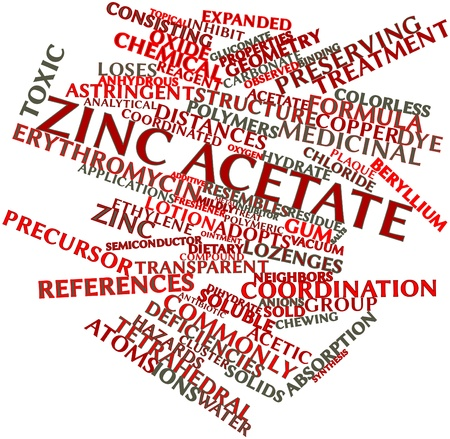 ions: Abstract word cloud for Zinc acetate with related tags and terms
