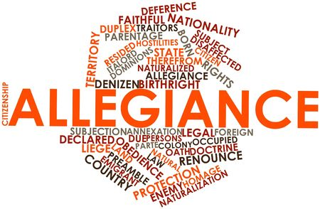 declared: Abstract word cloud for Allegiance with related tags and terms