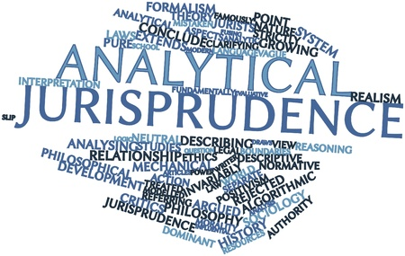 jurisprudence: Abstract word cloud for Analytical jurisprudence with related tags and terms Stock Photo