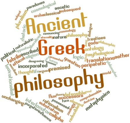 ontology: Abstract word cloud for Ancient Greek philosophy with related tags and terms Stock Photo