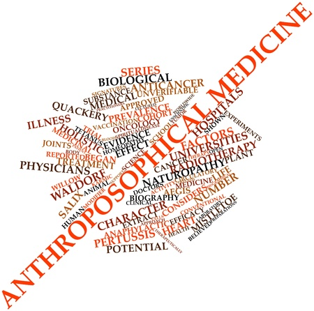 radiotherapy: Abstract word cloud for Anthroposophical medicine with related tags and terms Stock Photo