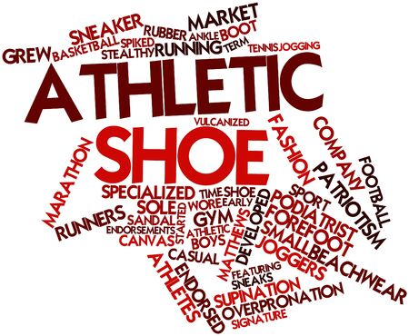 exclude: Abstract word cloud for Athletic shoe with related tags and terms Stock Photo