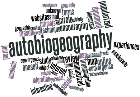 anthropological: Abstract word cloud for Autobiogeography with related tags and terms Stock Photo