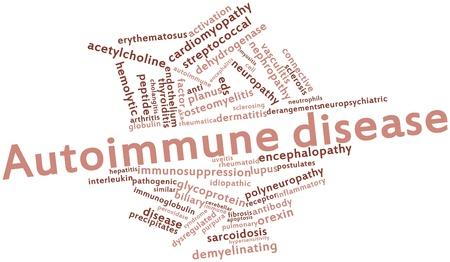 apoptosis: Nube palabra abstracta para la enfermedad autoinmune con etiquetas y t�rminos relacionados
