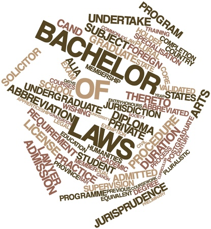 validated: Abstract word cloud for Bachelor of Laws with related tags and terms Stock Photo