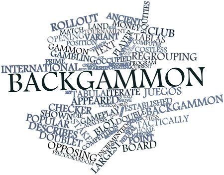 doublet: Abstract word cloud for Backgammon with related tags and terms Stock Photo